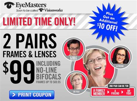 eyemasters coupon 2 pairs of lenses and frames 99