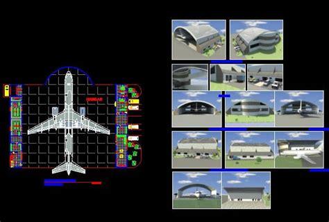 hangar large aircraft dwg block  autocad designs cad
