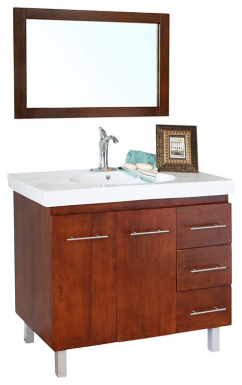 right side sink vanity 39 inch single sink vanity wood walnut right side drawers