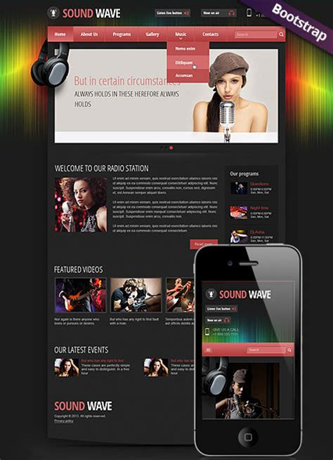 Sound Wave Radio Station Responsive Html Template Ham Radio Website Templates Free