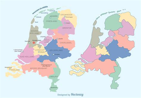 netherlands map eps free colorful netherlands map vector free