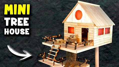 how to build a popsicle stick house how to make a mini tree house at home popsicle sticks