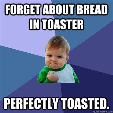 Toaster Meme - forget about bread in toaster perfectly toasted success