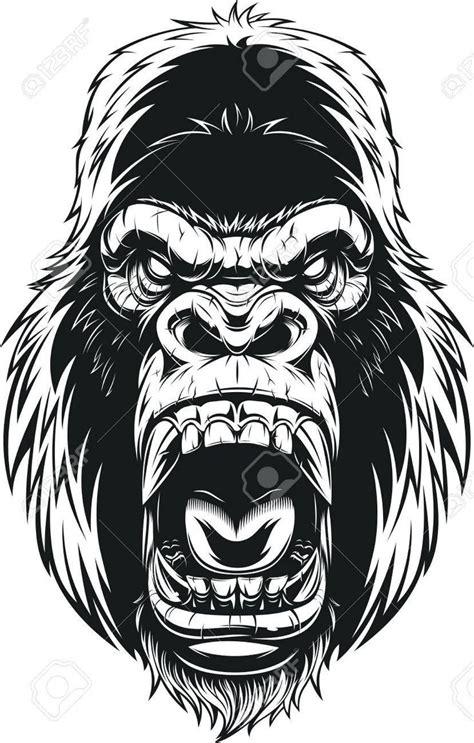 stock vector   gorilla tattoo illustration