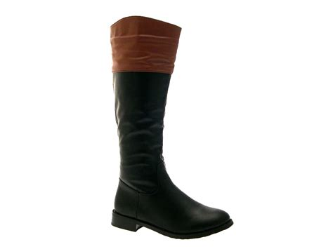 womens top two tone boots knee high flat