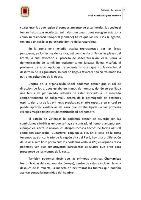 Pageant Farewell Speech Sle primeros peruanos arcaico preceramico