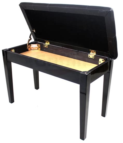 bench for piano black leather piano bench ebony wood double duet keyboard seat storage griffin ebay