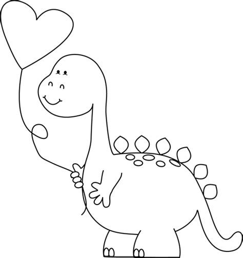 valentines day black and white black and white dinosaur with balloon clip