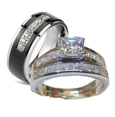 His & Her 3 Piece Wedding Ring Set White Gold Ep Sterling