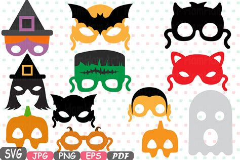 Halloween Photo Booth Props Printable Pdf | halloween monsters props kids masks photobooth props photo