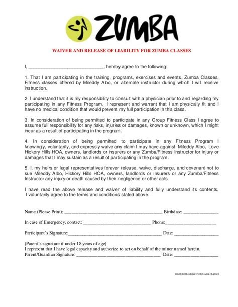 Free Fitness Waiver Template Printable Sle Release And Waiver Of Liability Agreement Form Laywers Template Forms Online
