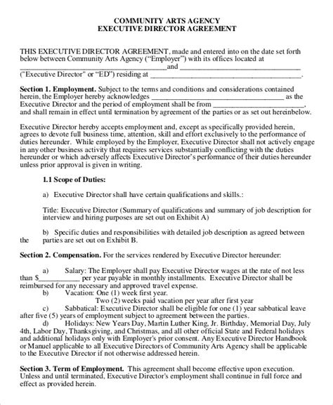 ceo employment contract template employment agreement template 9 free sle exle