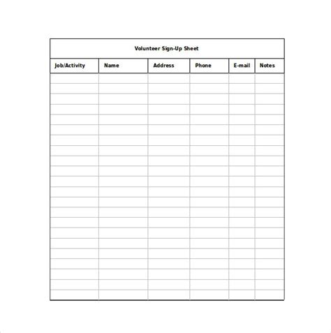 12 Sign Up Sheet Templates Free Excel Word Sle Template Section Email Sign Up Form Template