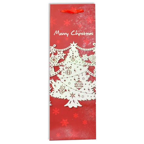 christmas wine bottle gift bags decorated with glitter