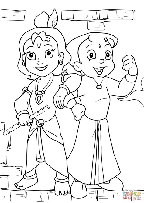 coloring pages online drawing krishna simple drawing chhota bheem and krishna coloring