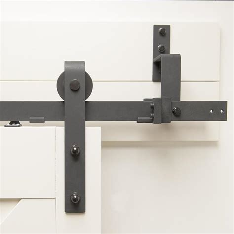 Shop Matte Black Steel Top Mount Sliding Barn Door Soft Barn Door Tracking Mount