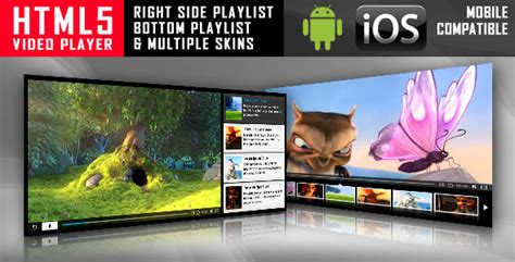 html5 video player with playlist multiple skins by