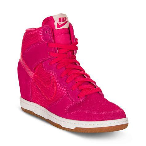 nike sky high sneakers nike dunk sky hi sneakers in pink pink lyst