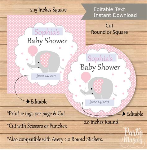 Thank You Baby Shower Favor Tags by Editable Pink Elephant Tags Printable Baby Shower
