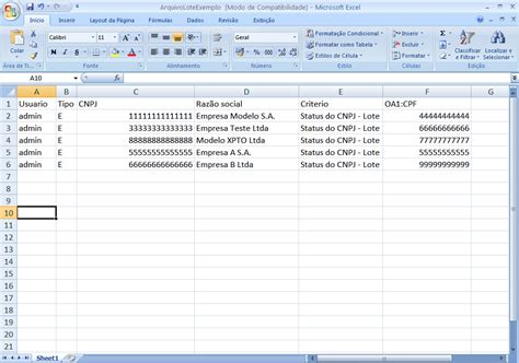 layout no excel layout