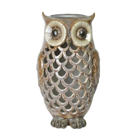 Moonrays Solar Powered White Led Owl 91581 The Home Depot Owl Solar Lights