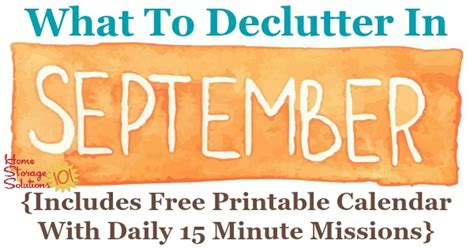september declutter calendar  minute daily missions  month