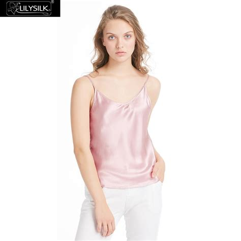 Glow Silk Vneck Top lilysilk womens silk camisole 100 real mulberry charmeuse 19mm v neck basics tops
