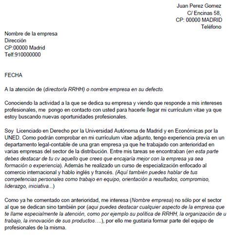 Modelos Carta Presentacion Curriculum Email Ejemplo De Carta De Presentaci 243 N Con Autocandidatura Ejemplos De Carta