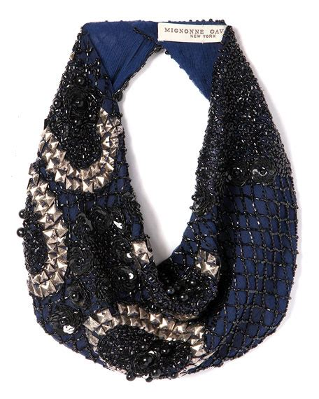 scarf necklace beaded mignonne gavigan le charlot beaded scarf necklace navy