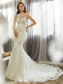 designer wedding gowns sheath wedding gown with bateau neckline
