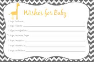 Wishes For Baby Printable Template by Wishes For Baby Card Printable Chevron Baby Shower Giraffe