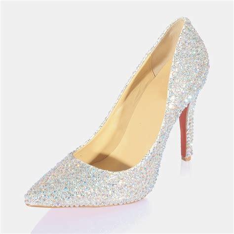 high heel closed toes rhinestone sparkling silver
