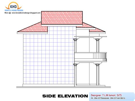 side elevation home plan and elevation 2080 sq ft kerala home