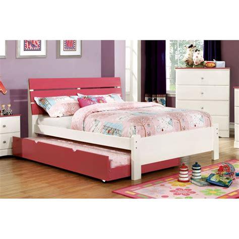 pink platform bed furniture of america emely full platform bed in pink idf