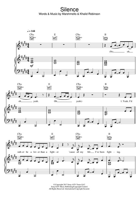 marshmello chord partition piano silence feat khalid de marshmello