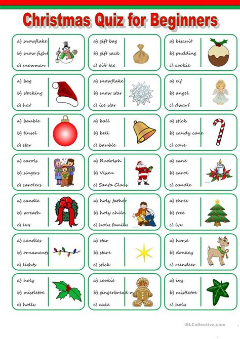 printable christmas english worksheets christmas vocabulary quiz worksheet free esl printable