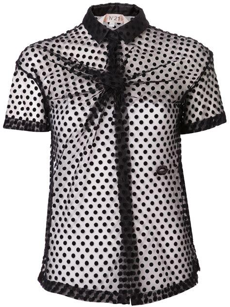 Kaos Polos Shortsleeve Black Polka lyst n 176 21 sheer polka dot top in black