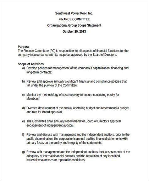 business scope template 7 scope statement exles sles pdf