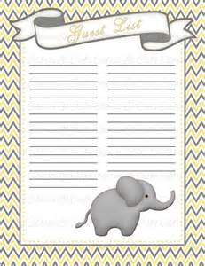 baby shower guest list printable baby shower