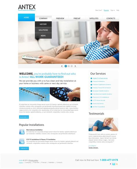 Satellite Tv Website Template 32537 Television Website Template