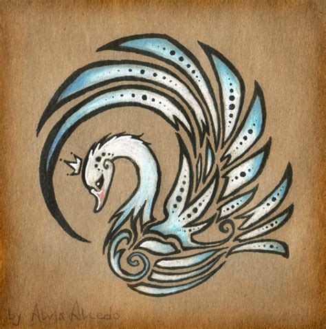 royal swan tattoo design by alviaalcedo on deviantart