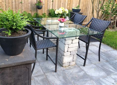 Backyard Reno Stone And Glass Top Patio Table Table For Patio