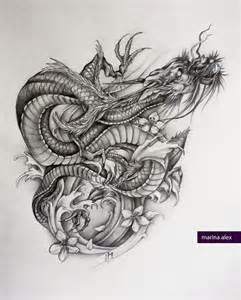 asian dragon tattoo sketch by marinaalex on deviantart