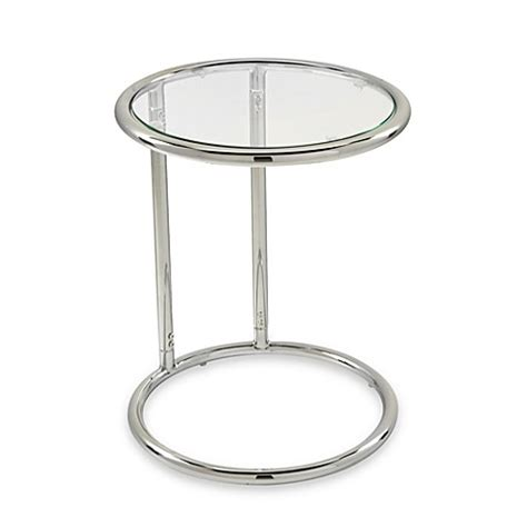 Glass And Chrome Side Table Yield Circular Glass Top And Chrome Side Table Bed Bath Beyond
