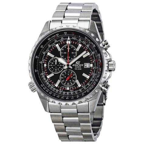 casio edifice chronograph black stainless steel s