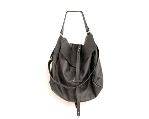Handmade Hobo Bags - large black leather hobo bag for handmade slouchy