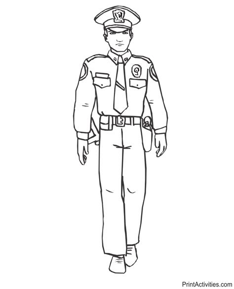 police officer coloring page in full uniform
