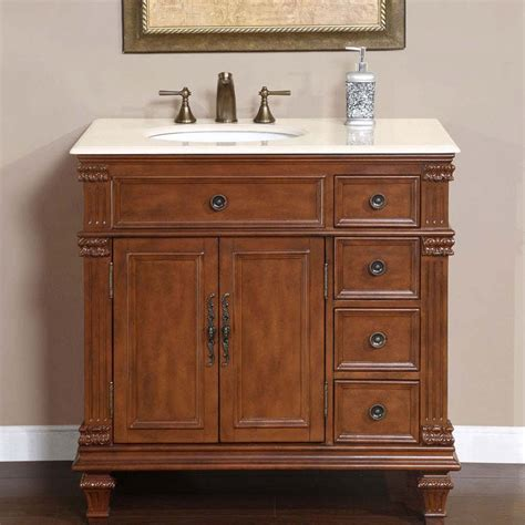 "36"" Perfecta PA 132   Single Sink Cabinet Bathroom Vanity (Cherry Finish, Marble)   HYP 0210 CM"
