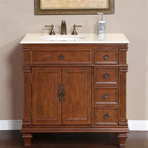 "36"" Perfecta PA 132   Single Sink Cabinet Bathroom Vanity (Cherry Finish, Marble)   HYP 0210 CM"