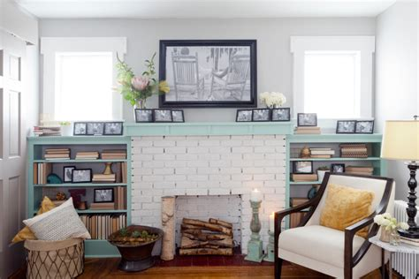 Shabby Chic Brick Fireplace by White Brick Fireplace Living Room Traditional With Beige